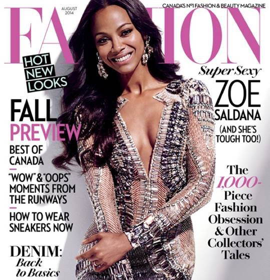 zoe saldana, fashion magazine,