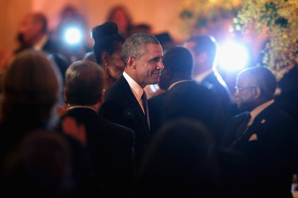President Barack Obama arrives at a dinner on the occassion of the U.S.-Africa Leaders Summit on the South Lawn of the White House August 5, 2014 in Washington, DC.