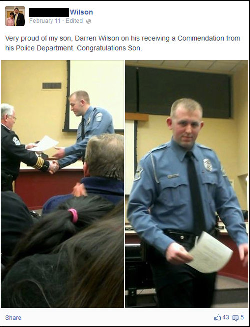 Darren Wilson, Mike Brown killer