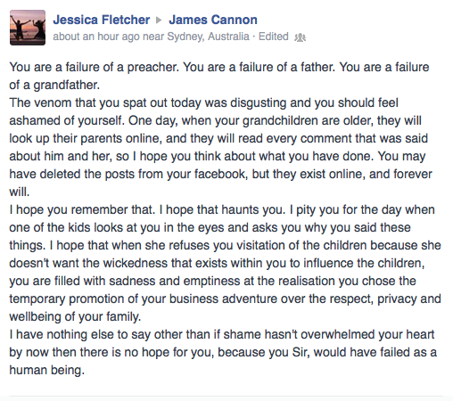 James Cannon Facebook exchange