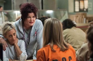 "Constance Shulman, left, Kate Mulgrew, right, and Taylor Schilling, front, in the Netflix series ""Orange Is the New Black"""