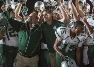 (L-R) Michael Chiklis, Jim Caviezel, Alexander Ludwig and Jessie Usher in WHEN THE GAME STANDS TALL