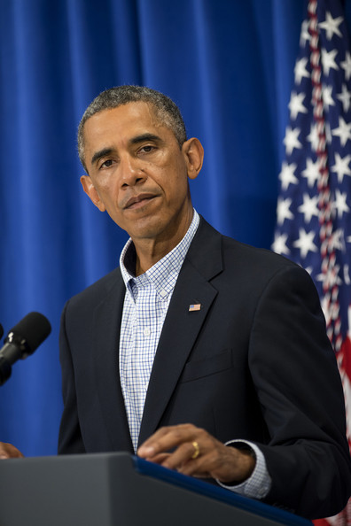 U.S. President Barack Obama delivers remarks during a press briefing at the Edgartown School on August 14, 2014 in Edgartown, Massachusetts.