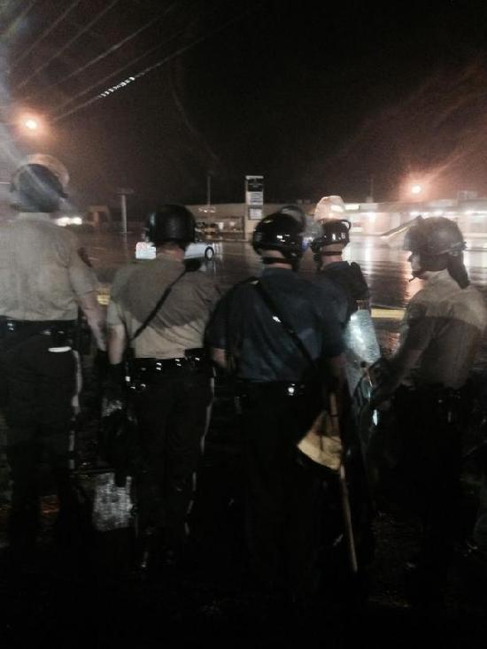 cops in ferguson sat night