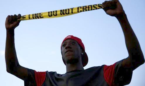 do not cross line - ferguson missouri protester
