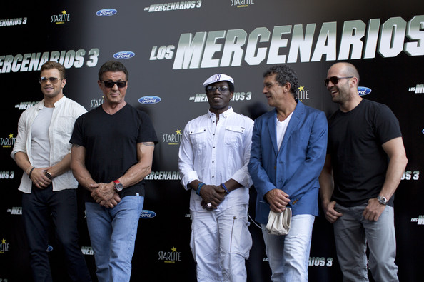 "(L to R) Kellan Lutz, Sylvester Stallone, Wesley Snipes, Antonio Banderas and Jason Statham attend the Premiere of ""The Expendables 3"" on August 5, 2014 in Malaga, Spain"
