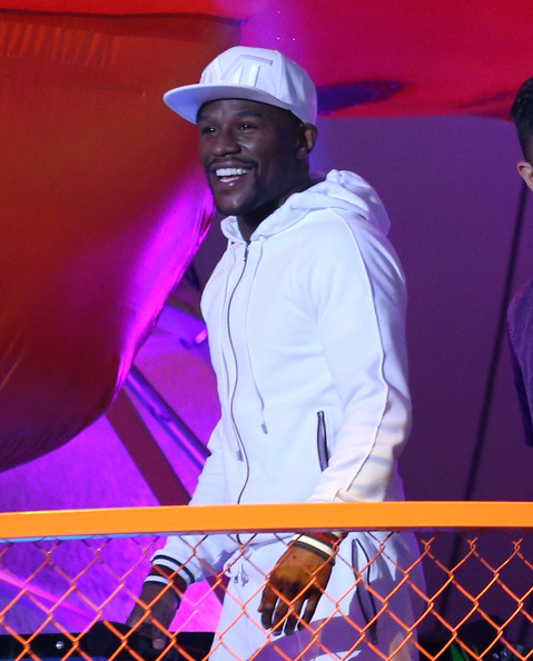 Boxer Floyd Mayweather speaks onstage during Nickelodeon Kids' Choice Sports Awards 2014 at UCLA's Pauley Pavilion on July 17, 2014 in Los Angeles, California.