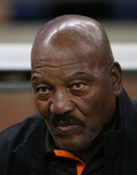 Former Cleveland Browns running back and National Football League Hall of Famer Jim Brown watches the action from the sidelines prior to the start of the preseason game against the Detroit Lions at Ford Field on August 9, 2014 in Detroit, Michigan