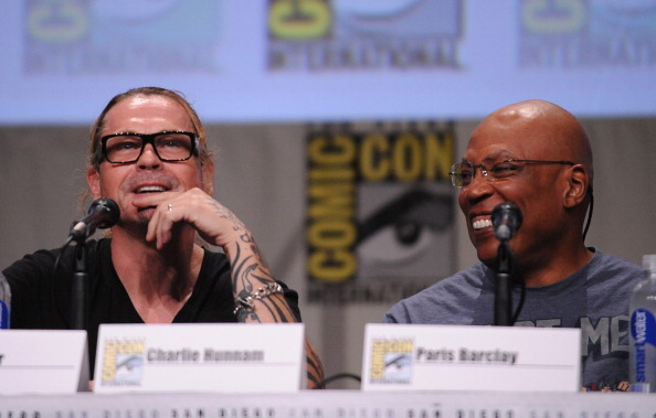 "Creator/executive producer Kurt Sutter (L) and executive producer/director Paris Barclay attend FX's ""Sons of Anarchy"" panel during Comic-Con International 2014 at San Diego Convention Center on July 27, 2014 in San Diego, California."