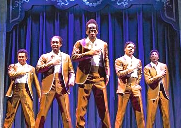 Portrayal of The Temptations in a scene from Motown: The Musical