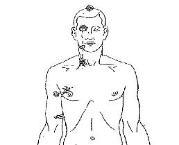 michael brown autopsy bullet wounds illustration - upper torso