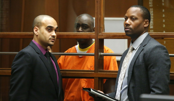 Actor Michael Jace (C) and his attorneys appear in Los Angeles Superior Court on August 1, 2014 in Los Angeles, California