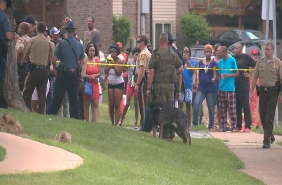 police & crowd at ferguson shooting