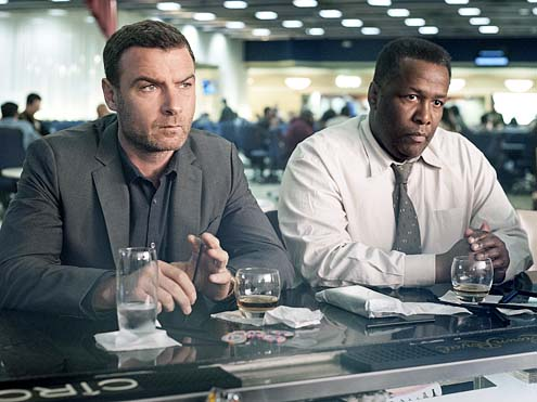"Liev Schreiber and Wendell Pierce as Ray Donovan and Mr. Keith in Showtime's ""Ray Donovan"" (Season 2, Episode 2 ""Uber Ray"")"