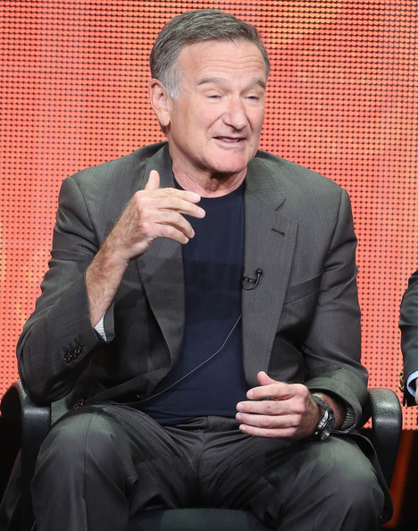 "Actor Robin Williams speaks onstage during ""The Crazy Ones"" panel discussion at the CBS, Showtime and The CW portion of the 2013 Summer Television Critics Association tour at the Beverly Hilton Hotel on July 29, 2013 in Beverly Hills"