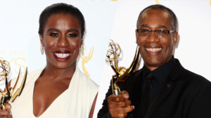 Uzo Aduba and Joe Morton pose with their Emmy Awards at the Creative Arts Emmy Awards
