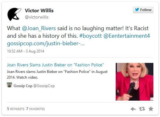 victor willis joan rivers tweet