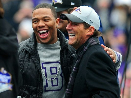 Baltimore Ravens owner Steve Bisciotti (right) and running back Ray Rice (left) hug during the Super Bowl XLVII celebration at M&T Bank Stadium
