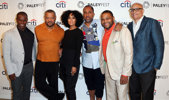 (L-R) Guest, actor Laurence Fishburne, actress Tracee Ellis Ross, creator/executive producer Kenya Barris, actor Anthony Anderson, and executive producer Larry Wilmore attend The Paley Center for Media's PaleyFest 2014 Fall TV Preview - ABC at The Paley Center for Media on September 11, 2014 in Beverly Hills, California