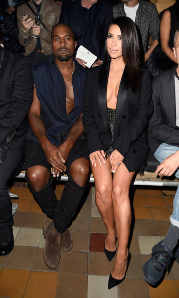 Kim Kardashian and Kanye West attend the Lanvin show as part of the Paris Fashion Week Womenswear Spring/Summer 2015 on September 25, 2014 in Paris, France