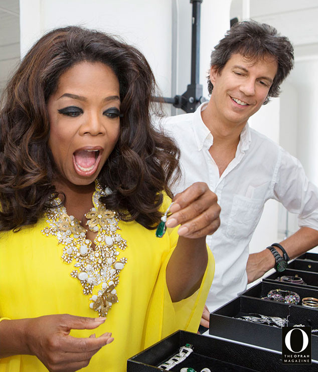 Oprah preparing for the first of her four-cover photo shoot for O Magazine's October issue