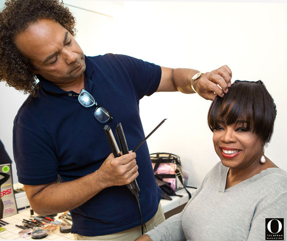 Oprah and her longtime hair stylist Andre prepare for O Magazine's third cover