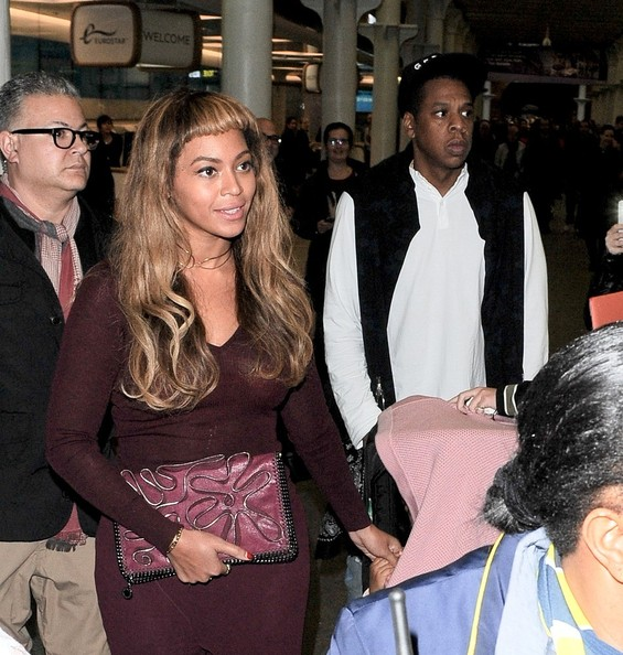 Beyonce and Jay Z with daughter Blue Ivy are pictured arriving at London St. Pancras station from Paris on the Eurostar