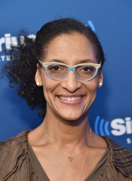 "Chef and television personality Carla Hall poses for a picture on SiriusXM's ""Food Talk"" on October 17, 2014 in New York City"