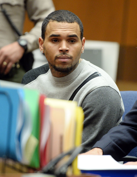 Singer Chris Brown attends a progress hearing at Los Angeles Superior Court on October 23, 2014 in Los Angeles, California. Brown was first placed on probation after the 2009 domestic violence case in which he plead guilty to assaulting his then-girlfriend, singer Rihanna.