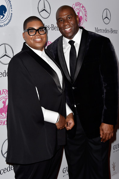 EJ Johnson (L) and honoree Earvin 'Magic' Johnson attend the 2014 Carousel of Hope Ball presented by Mercedes-Benz at The Beverly Hilton Hotel on October 11, 2014 in Beverly Hills, California.