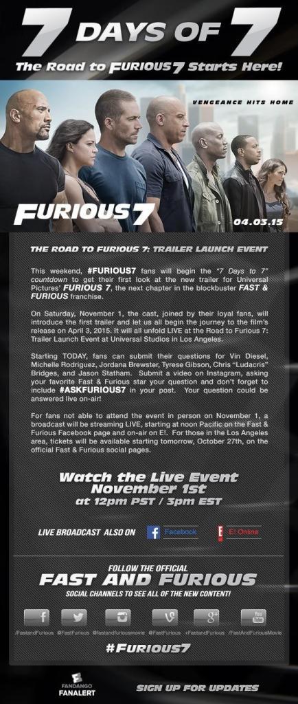 furious 7 flier