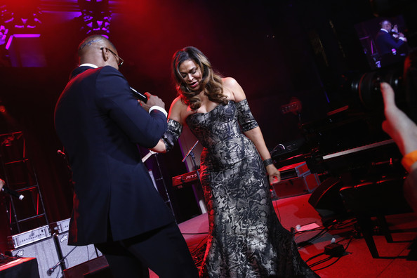 Jamie Foxx and Tina Knowles perform on stage at Angel Ball 2014 hosted by Gabrielle's Angel Foundation at Cipriani Wall Street on October 20, 2014 in New York City