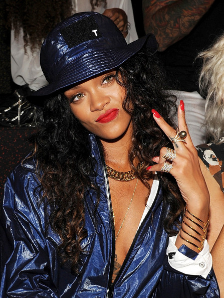 Rihanna attends the Alexander Wang fashion show during Mercedes-Benz Fashion Week Spring 2015 at Pier 94 on September 6, 2014 in New York City