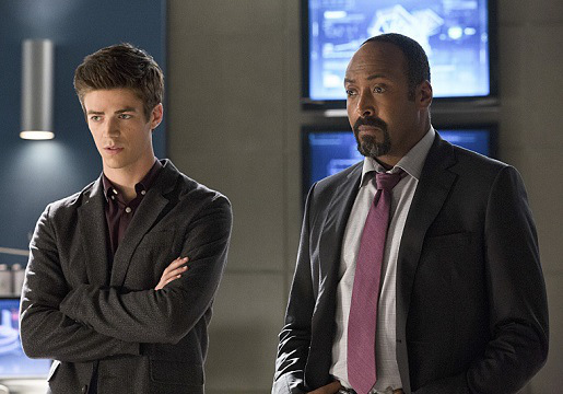 "The Flash -- ""Things You Can't Outrun""  (L-R): Grant Gustin as Barry Allen and Jesse L. Martin as Detective Joe West"