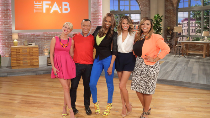 """F-A-B"" cohosts Leah Ashley, Joe Zee, Tyra Banks, Chrissy Teigen and Lauren Makk"