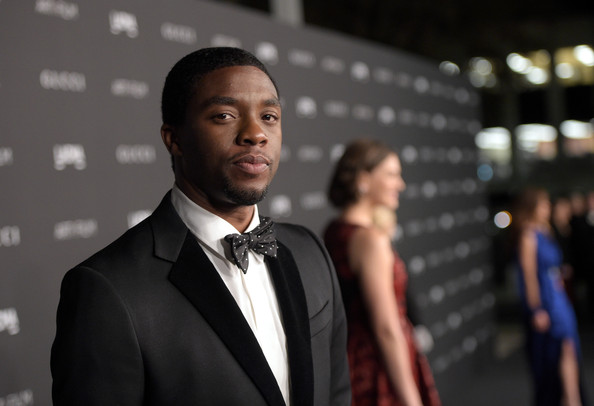 Actor Chadwick Boseman attends the 2014 LACMA Art + Film Gala honoring Barbara Kruger and Quentin Tarantino presented by Gucci at LACMA on November 1, 2014 in Los Angeles, California.