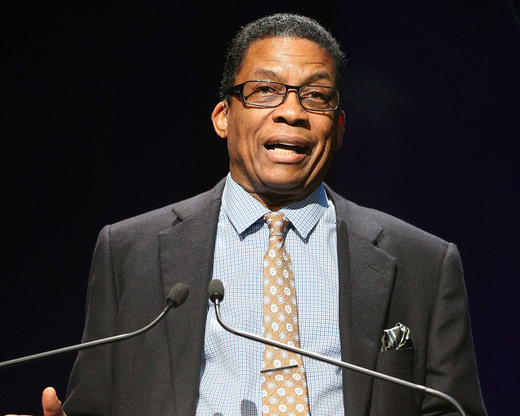 HOLLYWOOD, CA - NOVEMBER 09: Musician Herbie Hancock speaks onstage at the 2014 Thelonious Monk International Jazz Trumpet Competition at Dolby Theatre on November 9, 2014 in Hollywood, California. (Photo by Imeh Akpanudosen/Getty Images for Thelonious Monk Institute of Jazz)