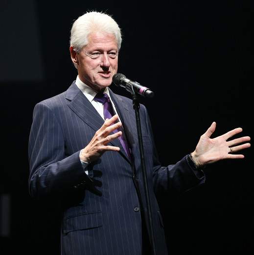 HOLLYWOOD, CA - NOVEMBER 09: Former President Bill Clinton speaks onstage at the 2014 Thelonious Monk International Jazz Trumpet Competition at Dolby Theatre on November 9, 2014 in Hollywood, California. (Photo by Imeh Akpanudosen/Getty Images for Thelonious Monk Institute of Jazz)