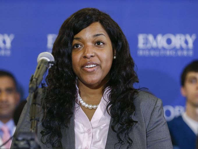 Ebola virus survivor Amber Vinson speaks at a news conference upon her discharge from Emory University Hospital in Atlanta on Oct. 28