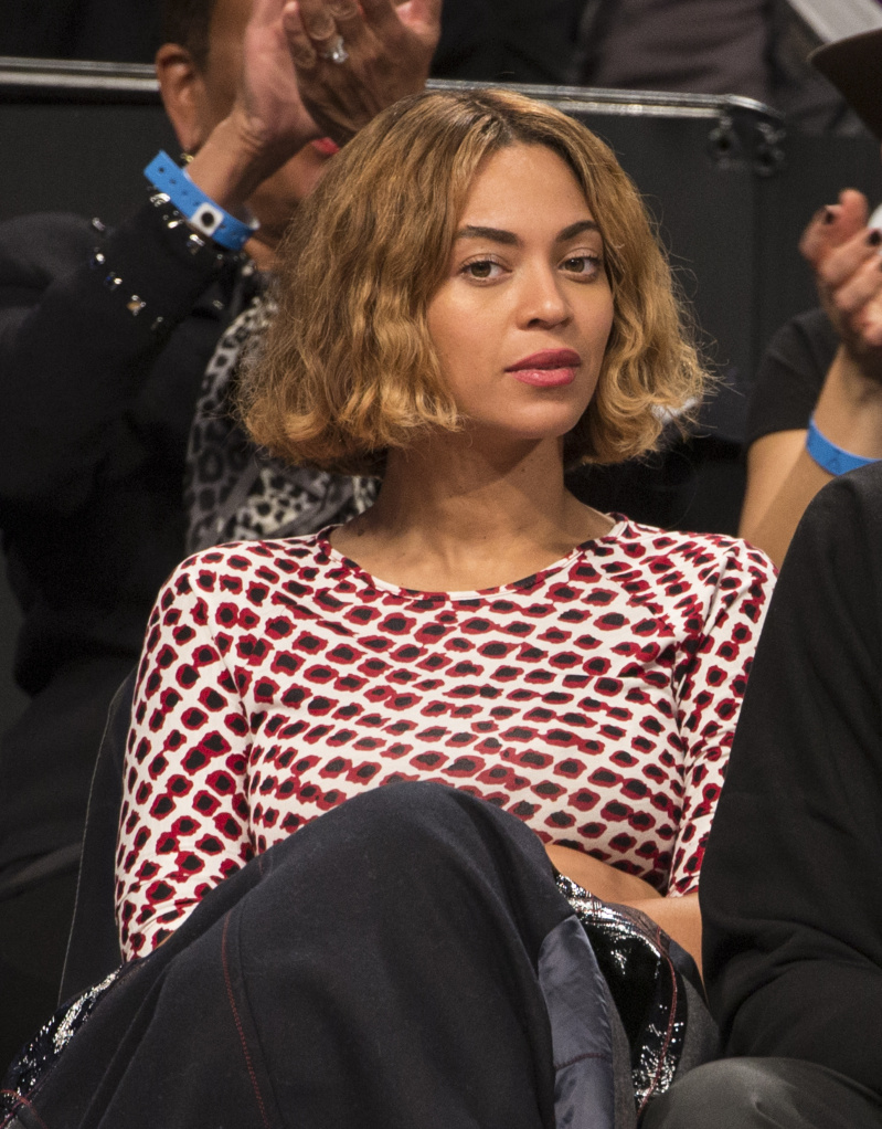 Beyonce at a game between the Brooklyn Nets and Oklahoma City Thunder at the Barclays Center on November 3, 2014 in Brooklyn