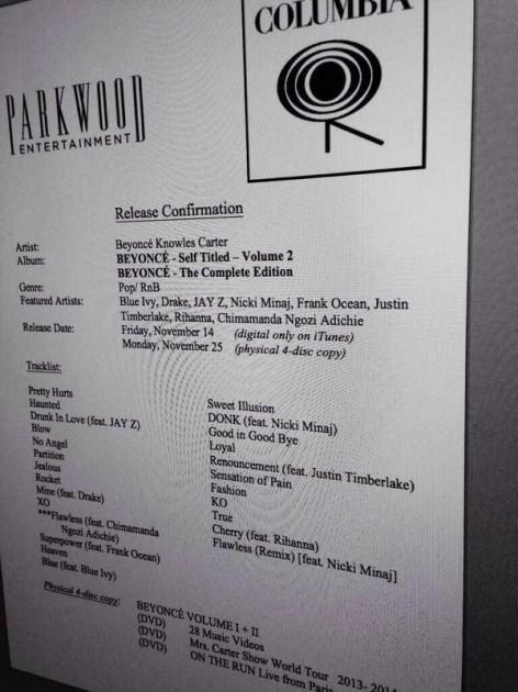 "Fake tracklist for Beyonce ""Volume 2"""