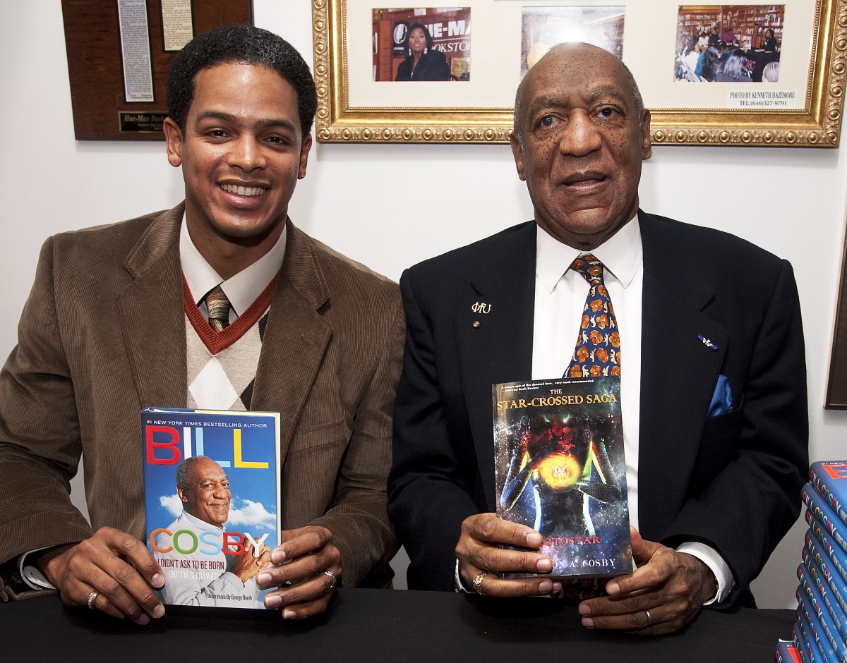 "(L to R) Braxton A. Cosby promotes his book ""The Star-Crossed Saga Prostar"" while his uncle, actor Bill Cosby promotes ""I Didn't Ask To Be Born: (But I'm Glad I Was)"" at Hue-Man Bookstore & Cafe on January 18, 2012 in New York, New York"
