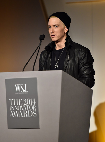 "Eminem speaks onstage at WSJ. Magazine's ""Innovator Of The Year"" Awards at Museum of Modern Art on November 5, 2014 in New York City"