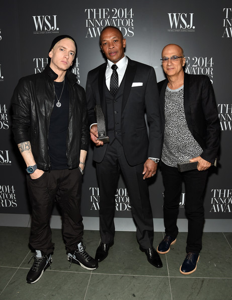 """(L-R) Eminem, Dr. Dre and Jimmy Iovine attend WSJ. Magazine's """"Innovator Of The Year"""" Awards at Museum of Modern Art on November 5, 2014 in New York City"""