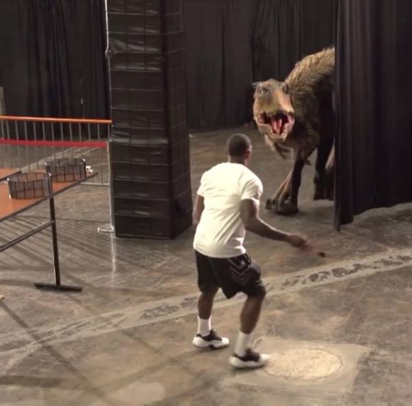 NBA's Eric Bledsoe Freaked Out by Lifelike Fake Dinosaur