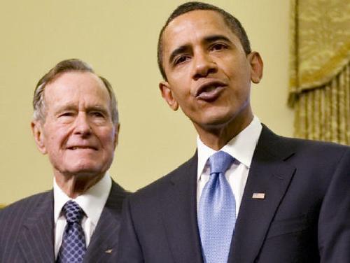 hw bush & b obama