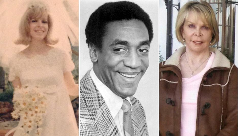 Kristina Ruehli in her 1967 wedding photo (left); Bill Cosby in a 1969 publicity photo; Kristina Ruehli today (right)