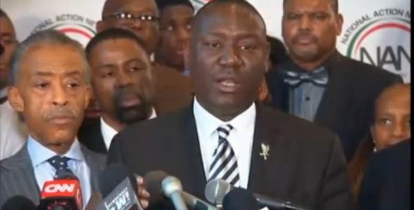 michael brown family-press-conference-benjamin crump and al-sharpton