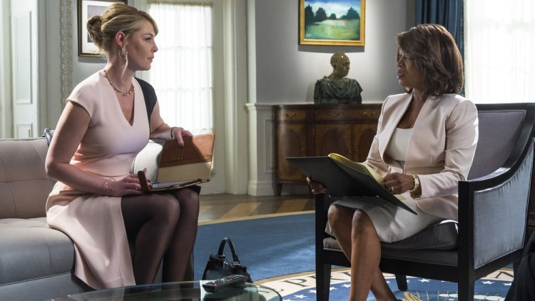 "STATE OF AFFAIRS -- ""Pilot"" -- Pictured: (l-r) Katherine Heigl as Charleston Tucker, Alfrie Woodard as President Constance Payton"