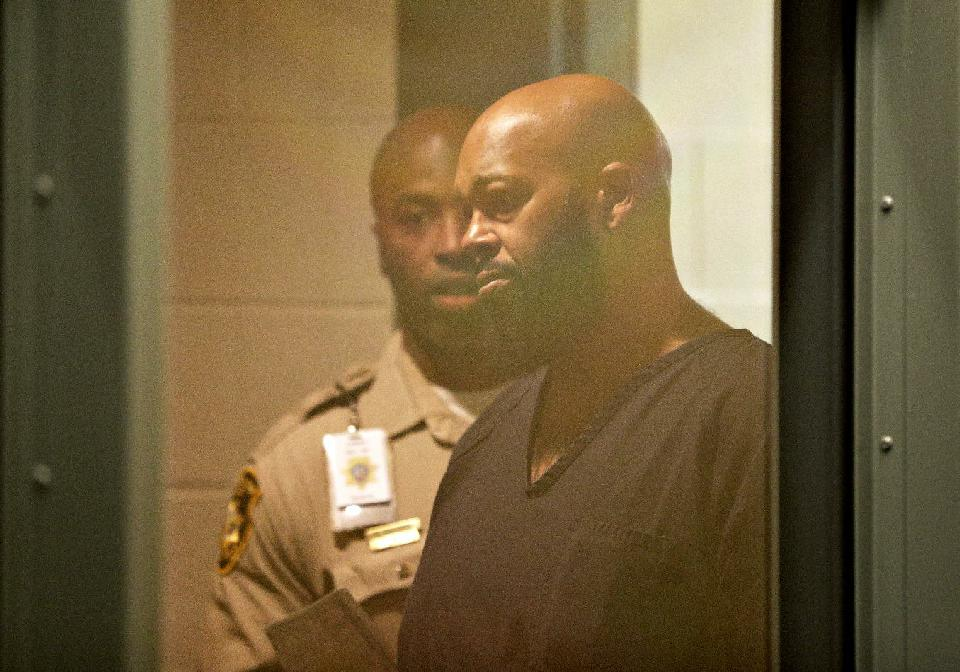 """Rap music mogul Marion """"Suge"""" Knight appears in court on a traffic warrant Thursday, Oct. 30, 2014, in Las Vegas following his arrest as a fugitive in a California robbery case."""